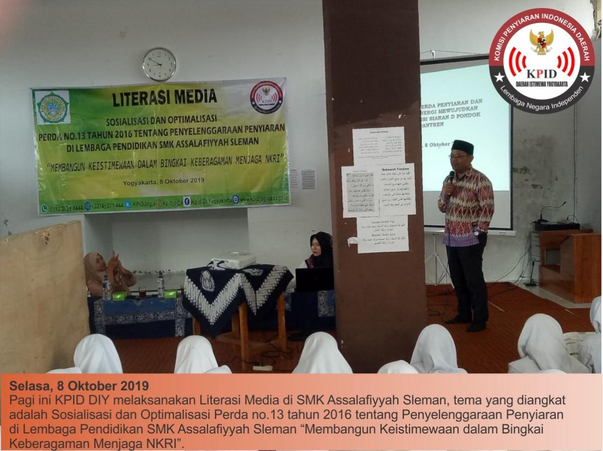 Sosialisasi dan Optimalisasi Perda No. 13 Tahun 2016 tentang Penyelenggaraan Penyiaran Di Lembaga Pendidikan SMK Assalafiyyah Sleman